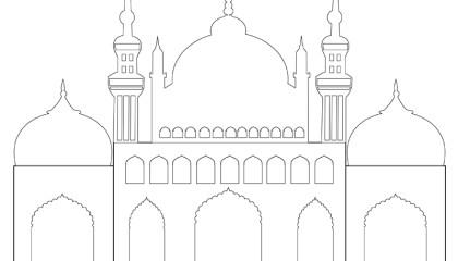 Masjid / Moschee zum ausmalen für Kinder 3