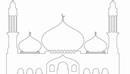 Islam Masjid / Moschee zum ausmalen für Kinder 1