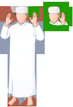 Hebe die Hände hoch so das du mit dem Daumen die Ohrläppchen berührst und sage: ALLAHU AKBAR